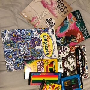 Coloring books, pencils, crayons, all new